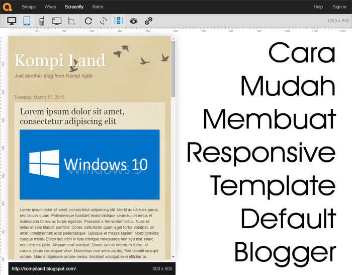 Cara Mudah Membuat Responsive Template Default Blogger