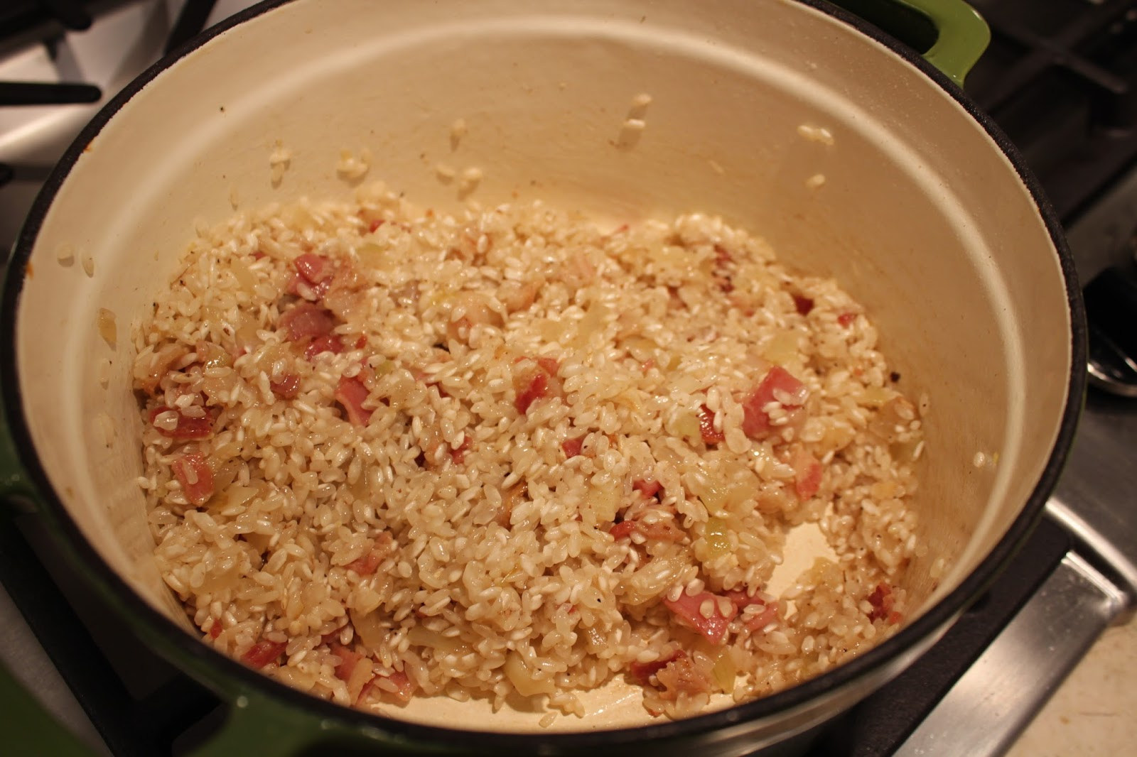 oven baked risotto with bacon