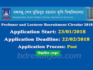 BSMRAU Professor and lecturer Recruitment Circular 2018