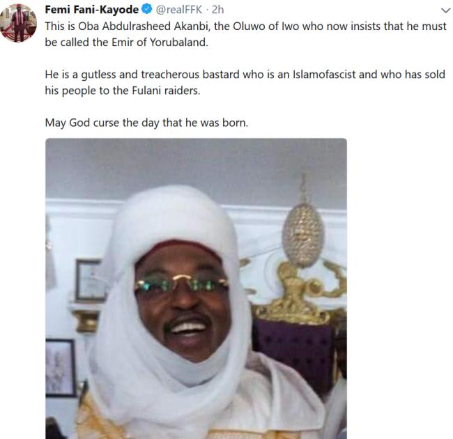Femi Fani-Kayode Placed Curse on Oba Of Yorubaland