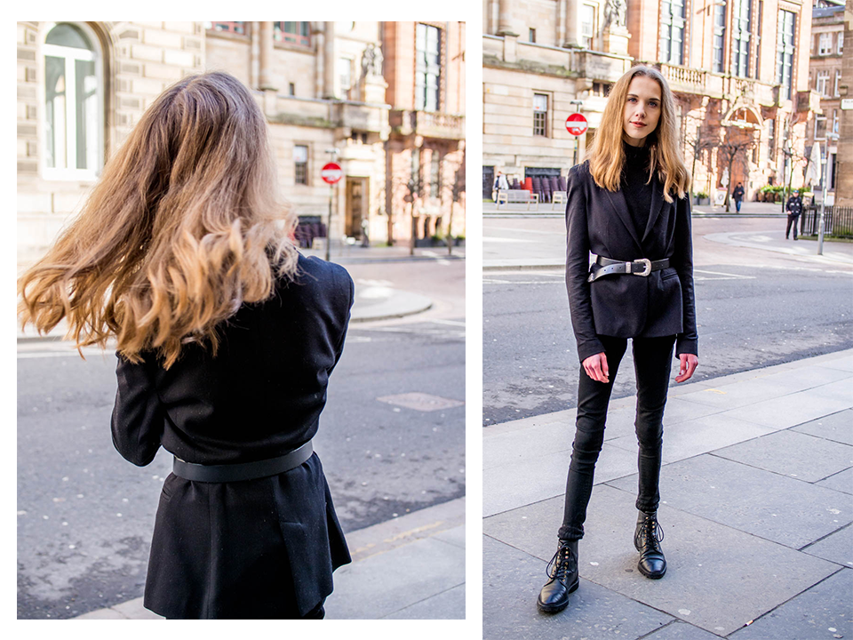 Chic all black outfit inspiration - Kokomusta asu bleiserin ja vyön kanssa, muoti, bloggaaja