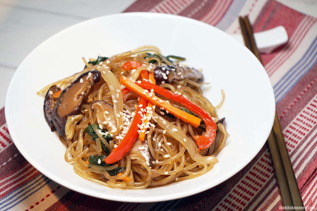 Japchae Chapchae Korean Glass Noodles | The Kitchen Nerd