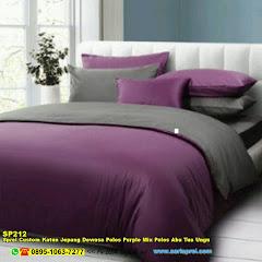 Sprei Custom Katun Jepang Dewasa Polos Purple Mix Polos Abu Tua Ungu