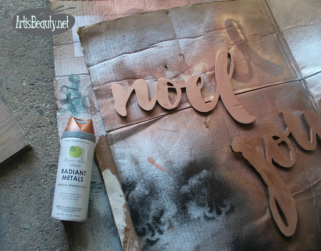 devine color valspar radiant metals copper spray paint christmas signs joy noel vintage shiplad driftwood craft diy