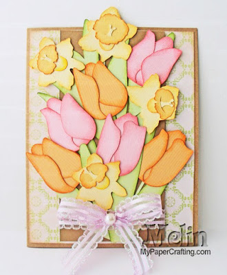DCWV Butterfly Garden Stack Project Idea Card SVG Tulip Cut Files