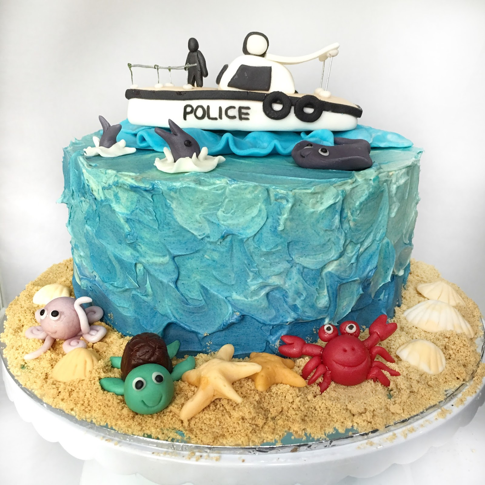 Soaking Up The Sun With A Ocean Themed Cake Police Boat For Nats Birthday They Didnt Want Fondant Wrapped So I Use Vanilla Buttercream