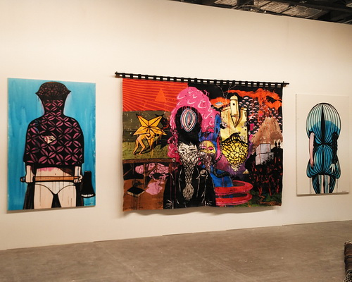www.Tinuku.com The latest work pop artist Eko Nugroho presents embroidery to Arario Gallery at Art Stage Singapore 2017