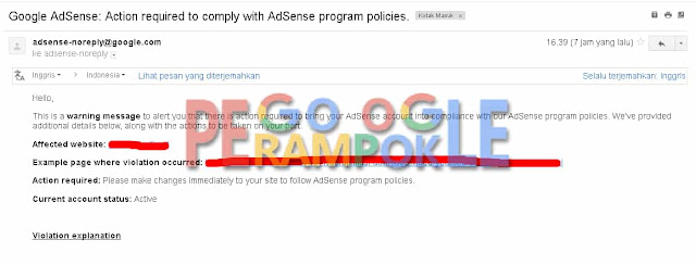 Cara Mengatasi peringatan Action Required to comply with adsense program policies