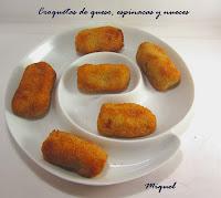 Croquetas de queso, espinacas y nueces