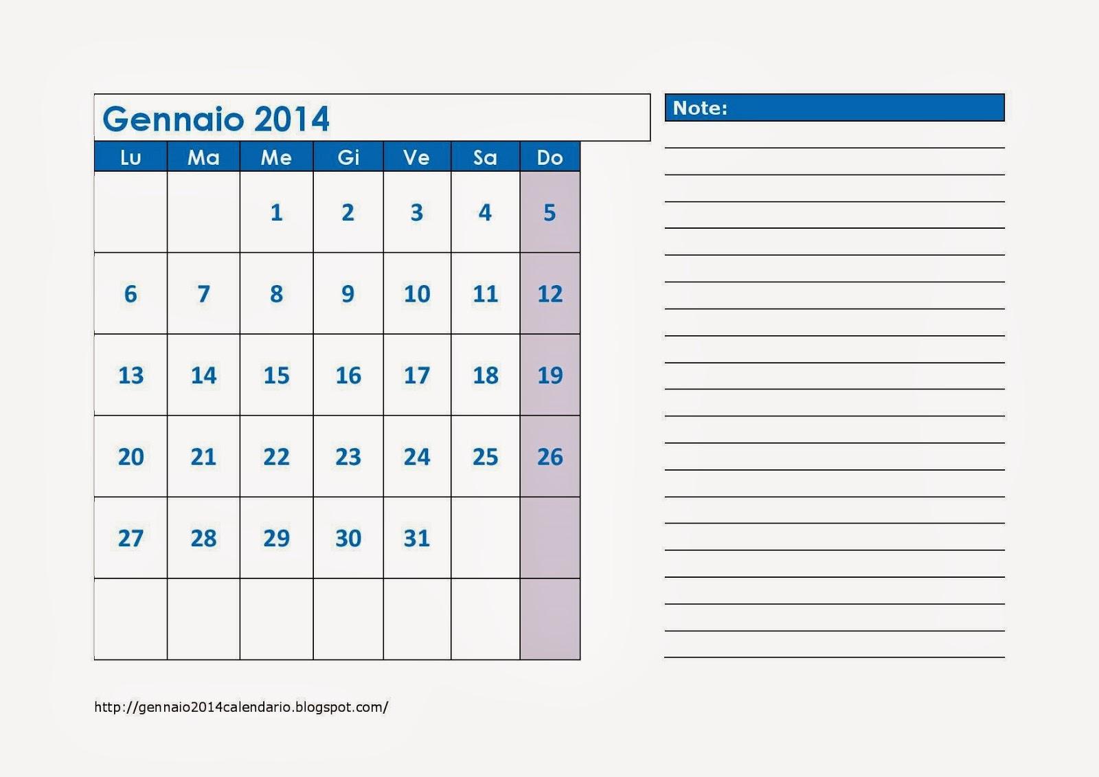 Calendario Con Note.Calendario Gennaio 2014 Con Note Gennaio 2014 Calendario