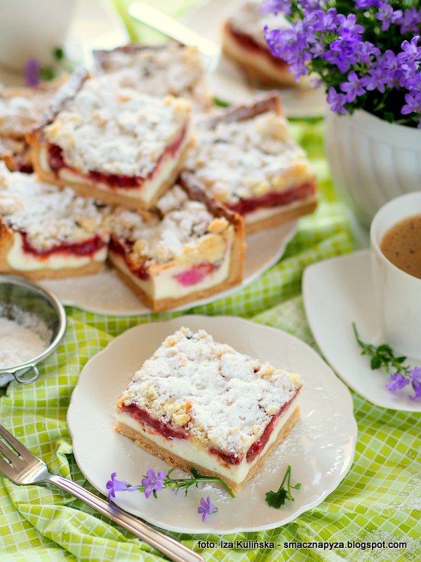 ciasto domowe, domowy deser, na podwieczorek, do kawki, zjem zaraz kawalek, placek z twarogiem i rabarbarem