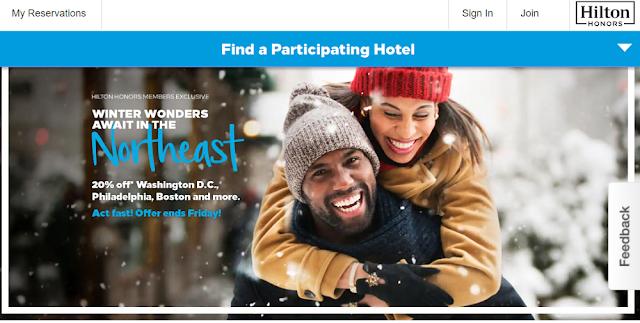 Hilton希爾頓閃促-入住美國東北部酒店可享8折優惠(1/25日前預訂)