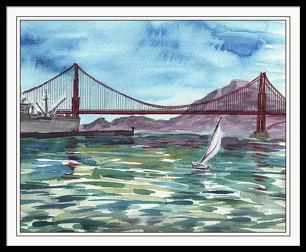 San Francisco Golden Gate Bridge Watercolor Painting by Irina Sztukowski