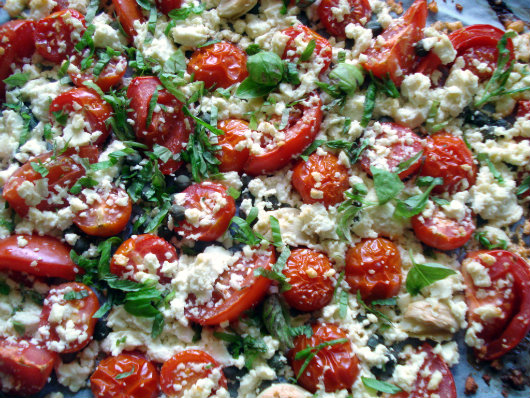 bake cherry tomatoes with feta, basil and capers
