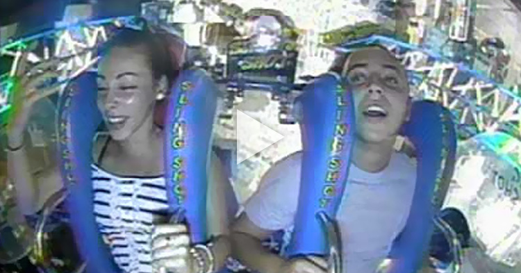 Man passes out twice on slingshot ride while on a date with his girl