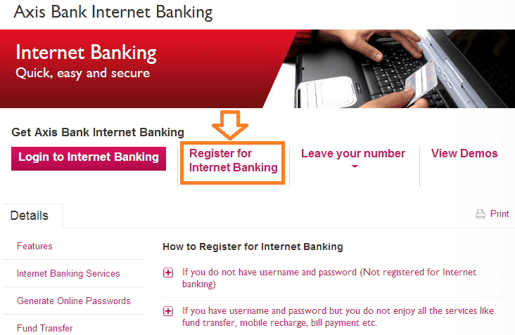 how to register axis bank net banking