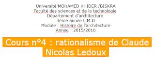 Université MOHAMED KHIDER /BISKRA Faculté des sciences et de la technologie  Département d'architecture  3émé année L.M.D Module : Histoire de l'architecture Année : 2015/2016   Cours n°4 : rationalisme de Claude  Nicolas Ledoux .PNG