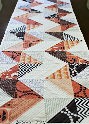 Quilted Reversible Holiday Table Runner | Half Square Triangles | © Saltwater Quilts 2012