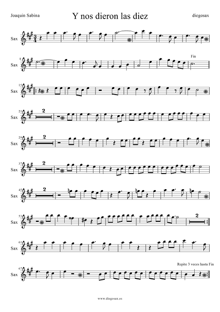 Partitura de Y nos dieron las diez para Saxofón Alto y Barítono de Joaquín Sabina Alto Saxophone Sheet Music Pop-rock Y nos dieron las 10. Para tocar con tu instrumento y la música original de la canción. Sirve para trompa en mi bemol (8ª baja)