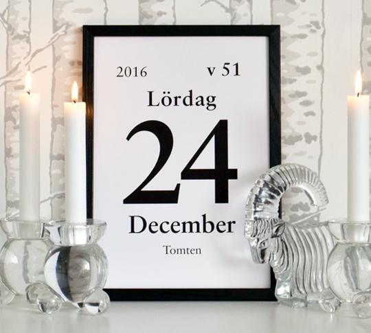 Gratis print - kalenderdagblocksblad julen 2016