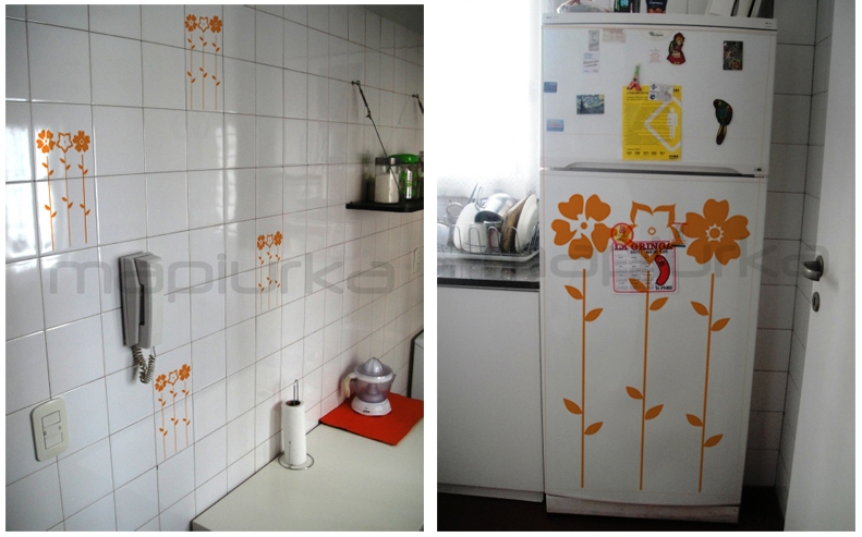 Mapiurka adhesivos decorativos ba cocina renovada con for Azulejos decorativos cocina