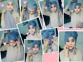 Tutorial Hijab Turban Segi Empat Modern Gaya #9 Mawar di Atas Kepala