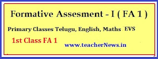 1st Class FA 1 question Papers Telugu English Math's Subjects Slip test
