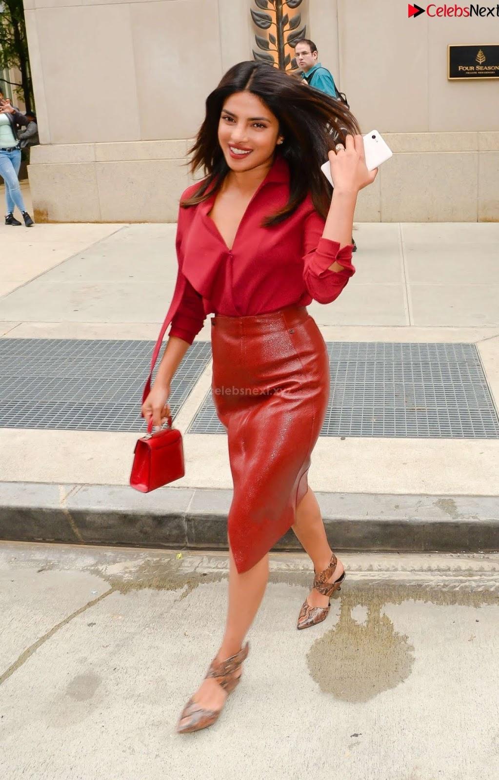 Priyanka Chopra in Red Leather Jacket ~ Celebsnext.xyz Exclusive