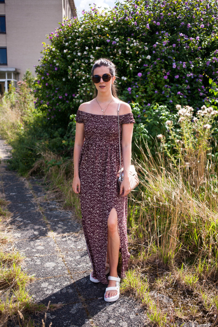 Outfit: off shoulder maxi dress, Teva flatforms