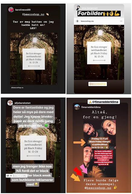 Tilbakemeldinger fra følgere på sosiale medier  om at Be:Eco stenger nettbutikken på Black Friday