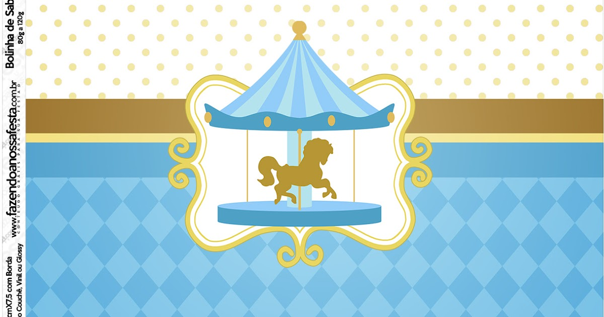 Carousel In Light Blue Free Printable Candy Bar Labels