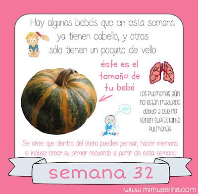 Semana 32 embarazo. Tamaño y evolución del bebé @mimuselina
