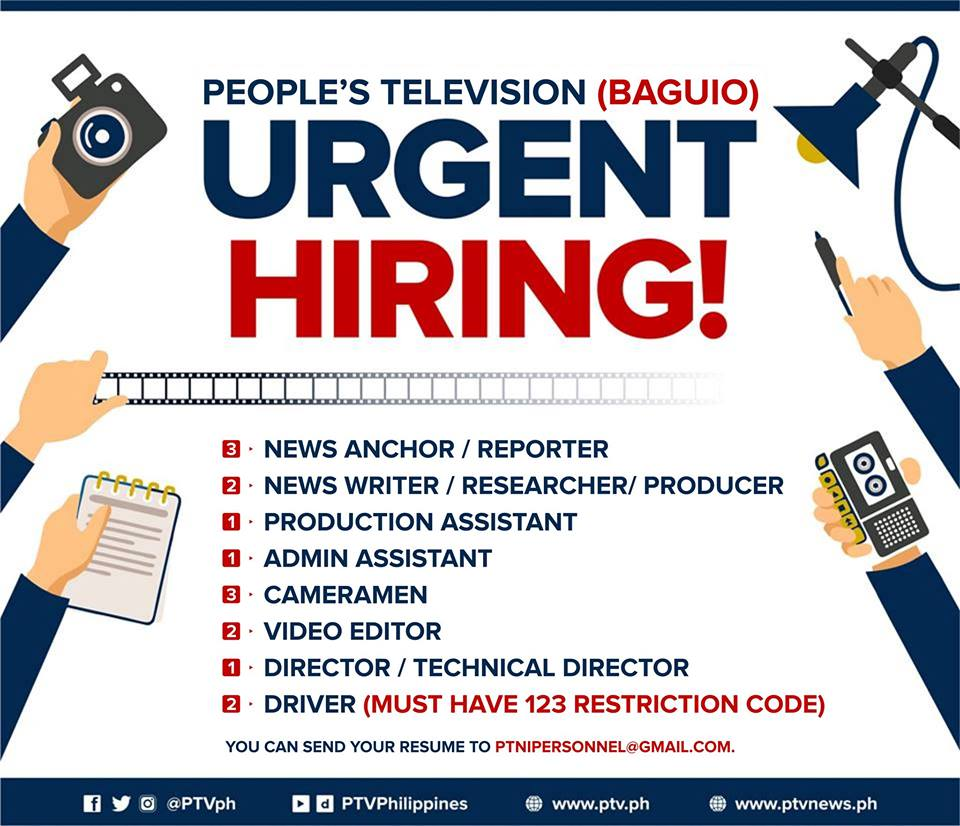 People's Television (PTV - Baguio) is hiring News Anchors