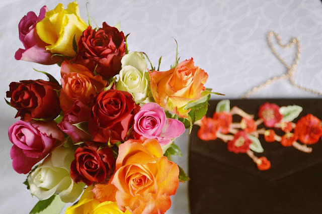 Bouquet de roses multicolor