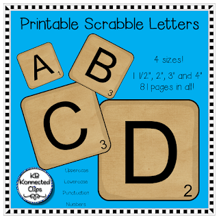 Kb konnected clips scrabble letters and scrabble word for Bulletin board template word