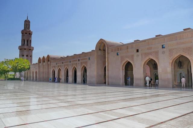 gross, Sultan, Qabus, Moschee, Muscat, Oman, Minarett, Seitengang, Marmorboden