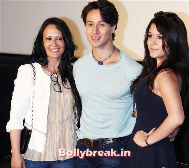 Ayesha Shroff, Tiger Shroff and Krishna Shroff, Kriti Sanon at Heropanti Movie Trailer Launch
