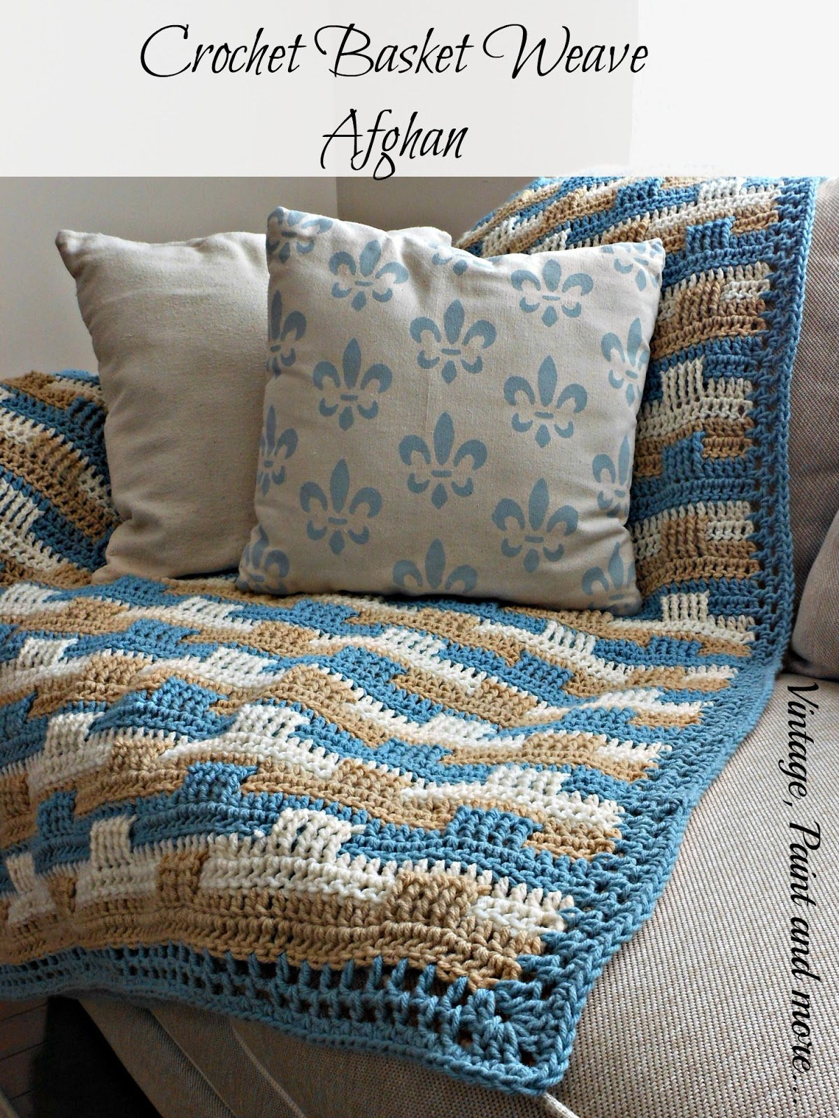 Tribal inspired ripple design crochet afghan vintage paint and basket weave afghan and stenciled pillow bankloansurffo Image collections