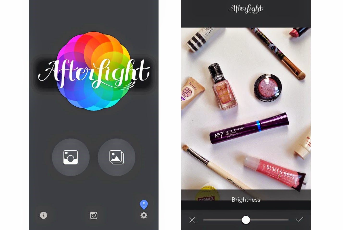 to the left, the after light app home screen. to the right a photograph of beauty products I am about to edit