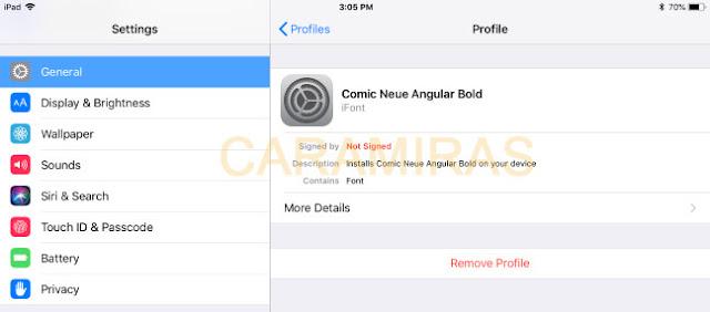 Cara Mengganti Font di iPhone dan iPad - menghapus profiles