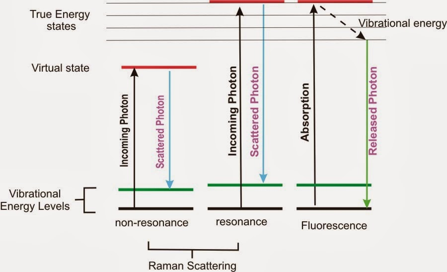 Energy Level Diagram of Raman and Fluorescence Signals.