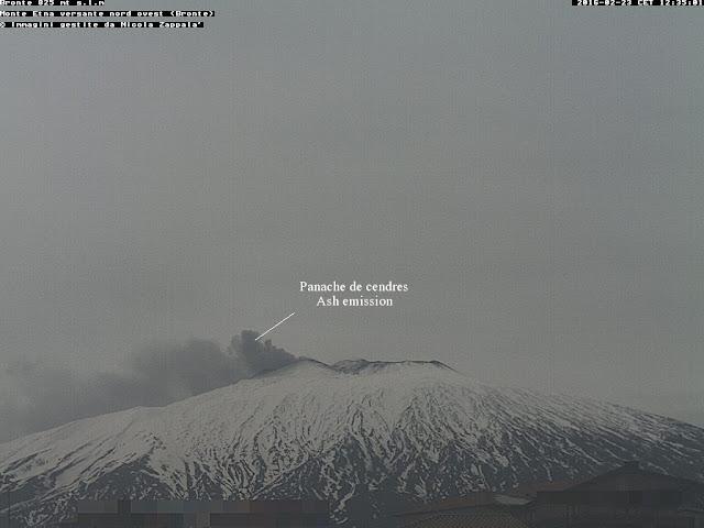Panache de cendres sur le volcan Etna, 23 février 2016 vu de l'ouest