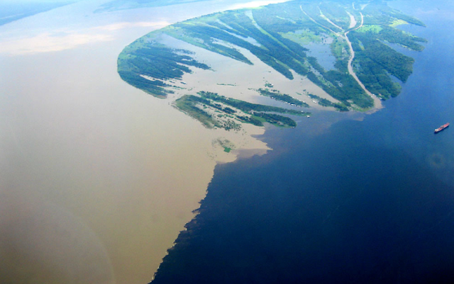 The confluence of the Rio Negro and Rio Solimoes in Brazil