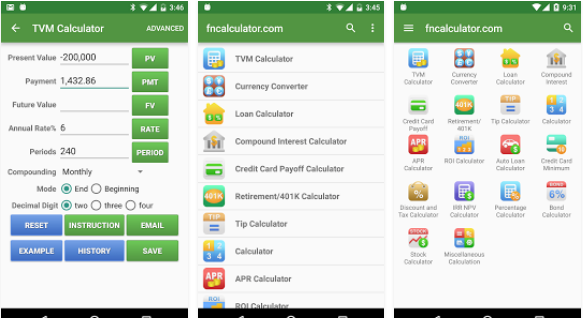 تطبيق Financial Calculators لحساب الاموال و العمليات المالية للأندرويد