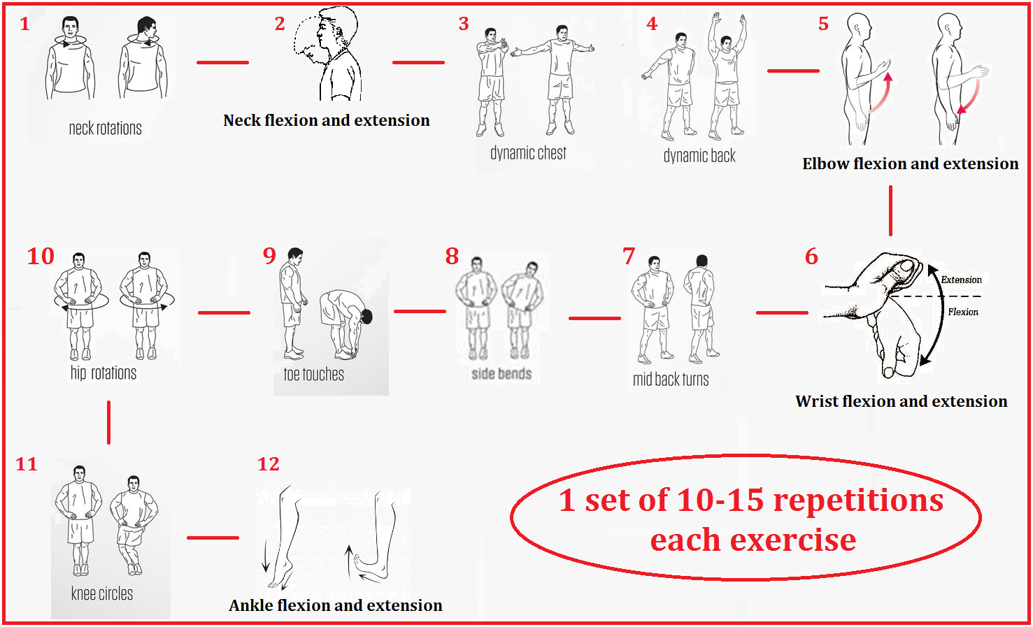 warm up excercises Warm-up exercises are essential to any workout preparing the muscles and joints for more intense activity helps prevent injury, as well as promoting circulation.
