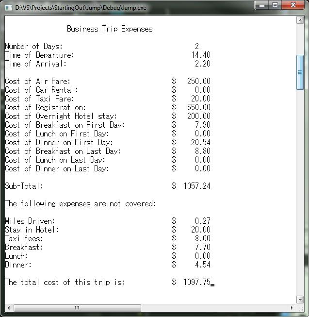 my c playground programming challenge 6 25 travel expenses