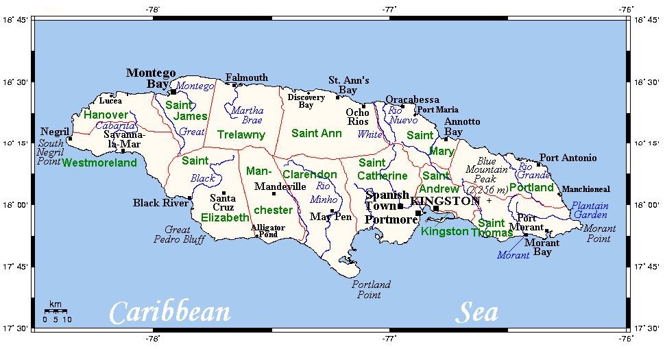 map of major river in jamaica