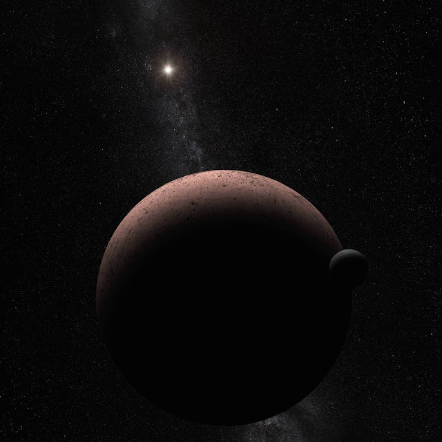 This artist's concept shows the distant dwarf planet Makemake and its newly discovered moon. Makemake and its moon, nicknamed MK 2, are more than 50 times farther away than Earth is from the sun. Credits: NASA, ESA, and A. Parker (Southwest Research Institute)