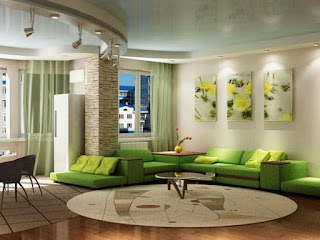 Interior Design Living Room With Green Paint Color Dominance