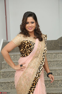 Shilpa Chakravarthy in Lovely Designer Pink Saree with Cat Print Pallu 029.JPG